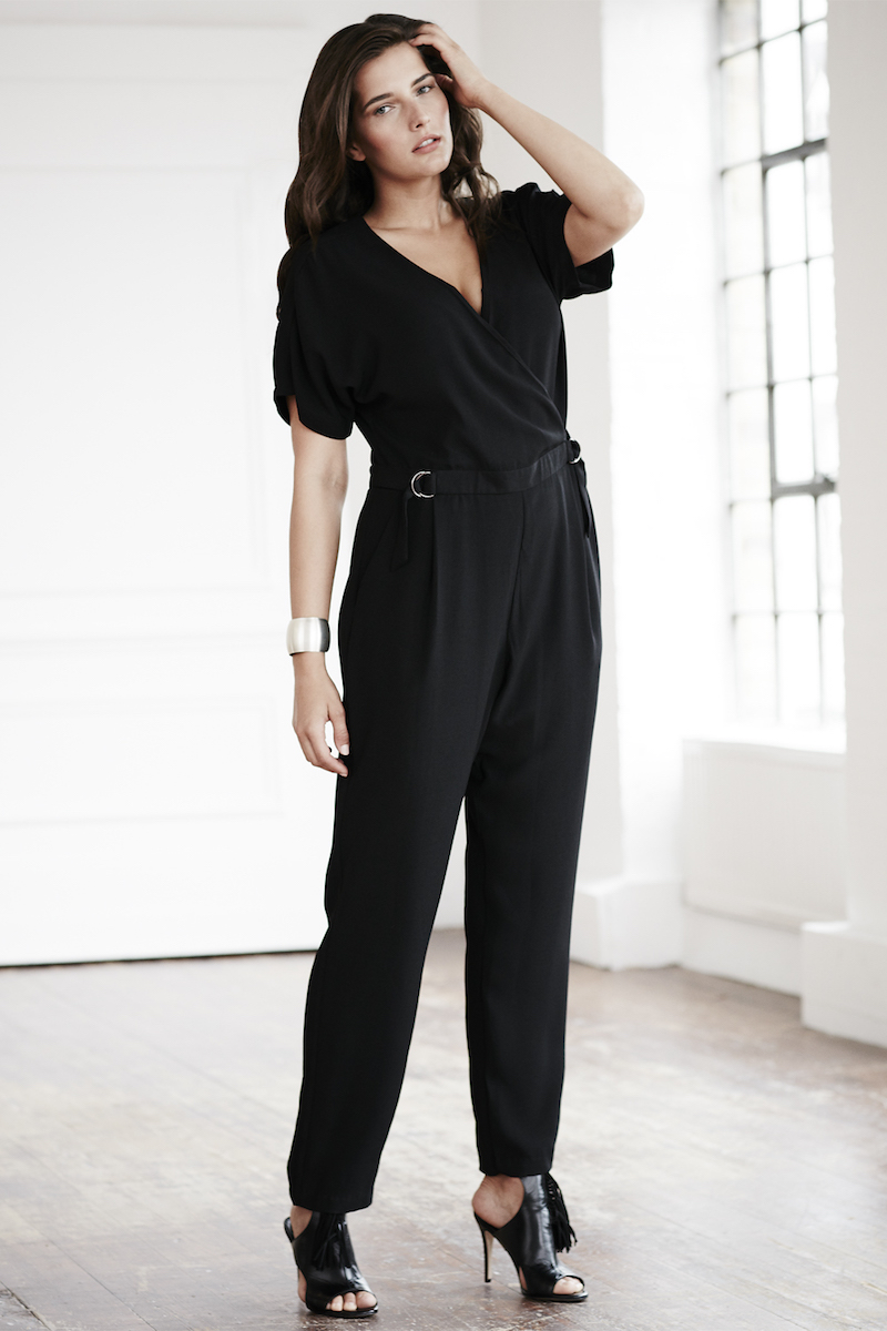 Elvi curvy size jumpsuit short sleeves black