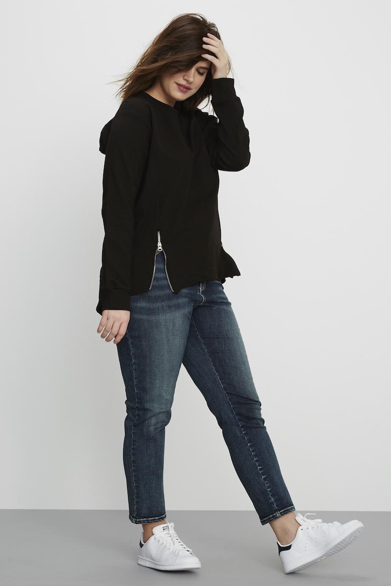 universal standard Corbelle Zip Pullover Black
