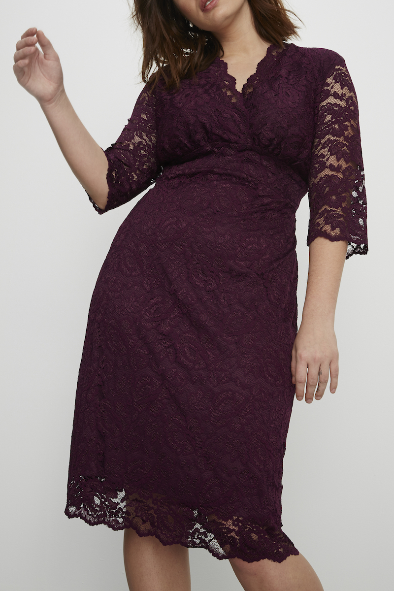 Lace dress plus size plum