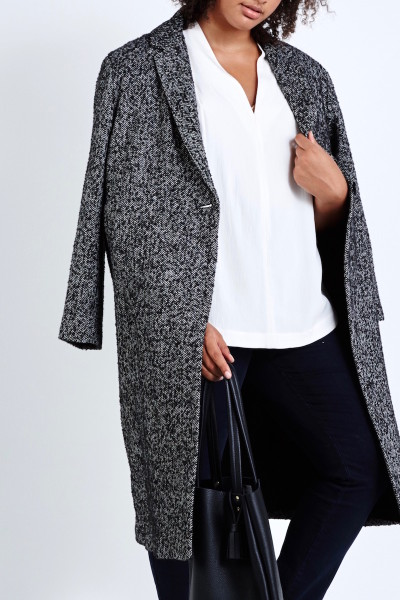 elvi plus size tweed coat black tweed coverstorynyc