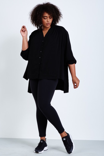 shegul shirred oversized blouse black