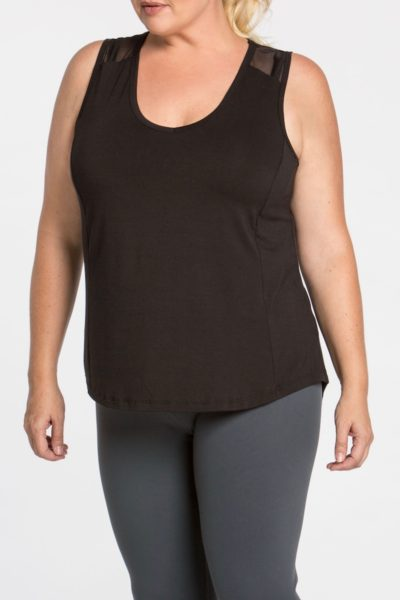 lola getts plus size black mesh back tank activewear coverstory