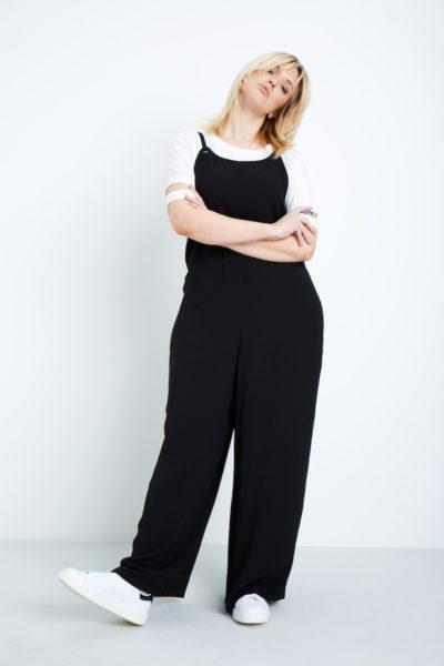 Elvi wide leg jumpsuit plus size black coverstorynyc