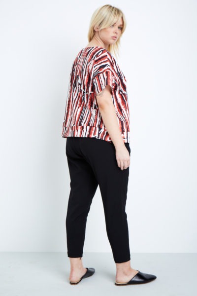 Shegul White Black Red Lava Printed Tee