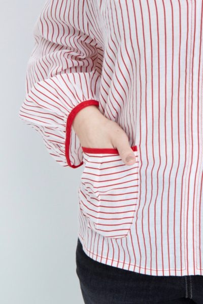 Shegul Red White Striped Cotton Blouse plus size coverstory