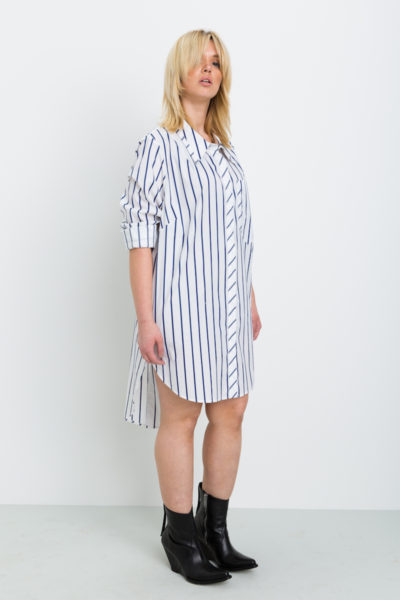 Shegul Hi-Low Hem Stripe Tunic plus size coverstory