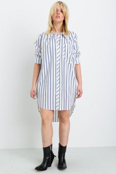 Shegul Hi-Low Hem Stripe Tunic plus size