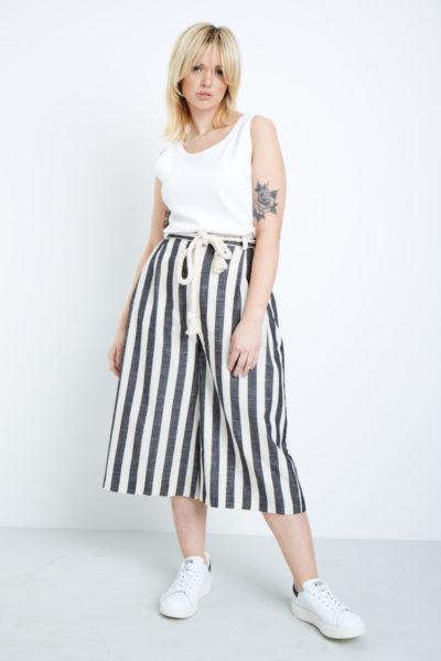 elvi cropped striped wide leg pants plus size CoverstoryNYC