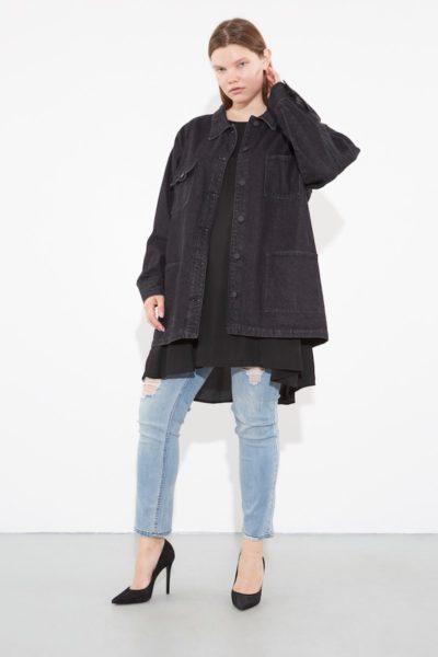 oak OVERSIZED CHORE JACKET ASH BLACK plus size Coverstory